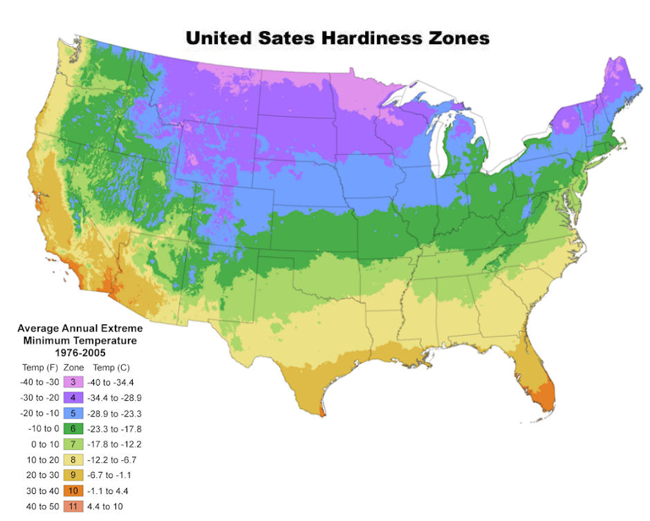 Cold Hardiness Zone Map For Buying Tree Plugs And Seedlings From Tree Plugs R Us Where Homeowners Can Buy Great Tree Seedlings Direct From The Nursery